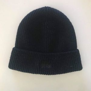 Black Stussy Stitched Logo and Cuffed Beanie